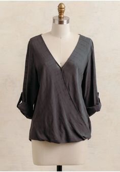 Huntington Gardens Draped Blouse In Charcoal   Modern Vintage New Arrivals   Ruche
