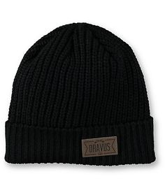 6d1557b3c45 A perfect beanie for chilly nights that boasts a faux leather Dravus logo  patch on the fold-over cuff.