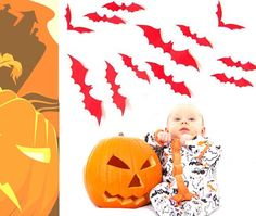 BIBITIME 12 Pcs 3D Horrible Flying Red Bat Sticker Halloween Decals Window Door Removable Vinyl Art Decor for Kids Boys Bedroom Christmas Decorations -- Awesome products selected by Anna Churchill