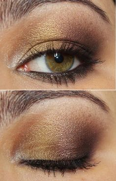 Gold & Brown. Apply a white highlight color to your inner corner and then take a gold and sweep this over your lid. Take a dark brown color, apply it to your outer v, and blend out for a smokey effect.