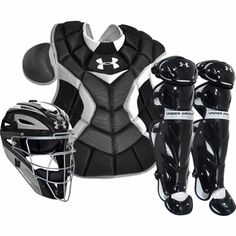 The Under Armour Adult Pro Baseball Catcher's Gear Set includes a helmet, leg guards and chest protector for complete catcher's protection. Softball Catchers Gear, Softball Gear, Softball Equipment, Baseball Gear, Baseball Cleats, Sports Equipment, Baseball Stuff, Athletic Gear, Little League Baseball