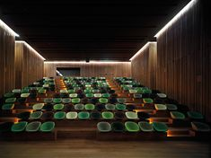 Weinkellerei Antinori nahe Florenz von Archea Associati www. Auditorium Design, Theatre Design, Hall Design, Home Cinema Room, Lecture Theatre, Hospital Design, Office Interiors, Halle, Cladding