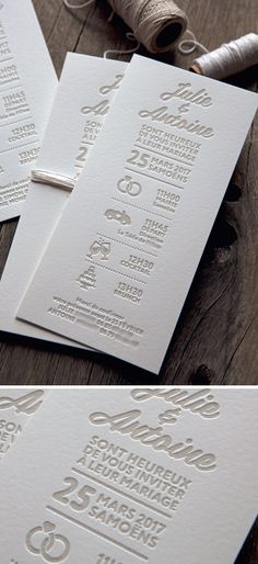 Faire-part de mariage format 1 couleur / classic wedding letterpress invite printed by Cocorico Letterpress Letterpress Invitations, Letterpress Printing, Party Invitations, Stationery, Invites, Love Design, Print Design, Graphic Design, Wedding Scene