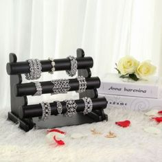 SONGMICS Bracelet Holder Watch Necklace Jewelry Bangle Display Stands Gift for Girls and Women, Faux Leather, Black Jewelry Display Stands, Ring Displays, Jewellery Display, Hand Jewelry, Custom Jewelry, Makeup Storage Solutions, Bracelet Holders, Blonde Wood, Wood Joints