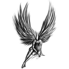 Fallen angel Tattoo ❤ liked on Polyvore featuring accessories and body art