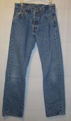 Vintage Levis 501 Blue Denim High Waist Mom Boyfriend Jeans W28 L31 #Levis #501ButtonflyBoyfriend
