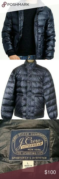 J. Crew outerwear down jacket blue L Used 3 times, no issues.  Navy blue, goose down, two side pockets and one inner.  Elastic cuffs to keep the chill out of your sleeves. J. Crew Jackets & Coats Puffers