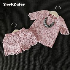 Girls Clothes Set New Fashion Floral Lace Pink T Shirt & Pants Shorts Casual Clothing Suit Baby Girl Outfits Children Clothes-in Clothing Sets from Mother & Kids on Aliexpress.com | Alibaba Group