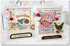 Emma's Paperie: Focus on Misting Technique by Melissa Phillips  i love this, mini books or manuals and trinkets the words are even perfect...... 3d box cards       Scavenger HUNT <3