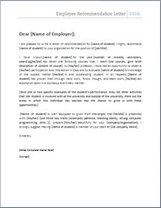 EmploymentRecommendationLetterforPreviousEmployee reference