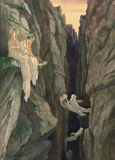 "silenceformysoul: "" Elisabeth Sonrel  (1874-1953) - Female Spirits in a Canyon, 1893 """