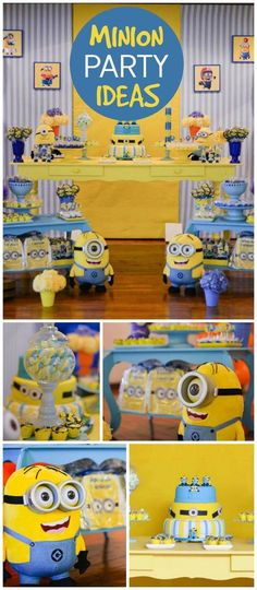 Such a fun Minon party! Great cake and decorations! See more party planning ideas at CatchMyParty.com!