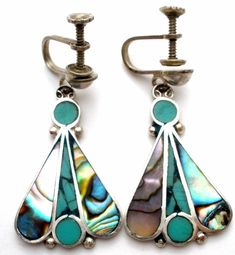Inlay Abalone Shell Earrings Green Sterling Silver Dangle Art Deco Mexican 925   Jewelry & Watches, Vintage & Antique Jewelry, Vintage Ethnic/Regional/Tribal   eBay!
