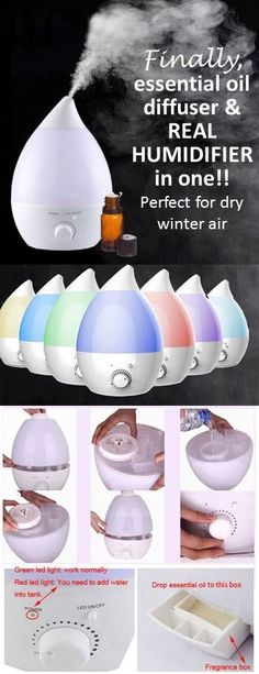 this essential oil diffuser that is ALSO a HUMIDIFIER. cool mist, extra large…
