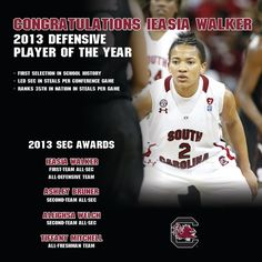 Congrats to Ieasia Walker on becoming the first Gamecock women's basketball player to be named SEC Defensive Player of the Year!!
