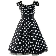 50's Vintage Tea Prom Dress Big Polka Dot Black & White: Clothing by brandie
