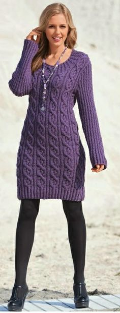 purple sweater dress...different shoes for sure.....