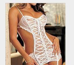 7.39$  Watch now - http://viuwv.justgood.pw/vig/item.php?t=2uko7m3862 - Women's Lingerie Sleepwear Babydoll Lace Dress Gstring White - M/L #17