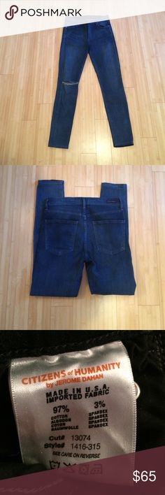 😊SALE😊 Citizens of Humanity High Rise Skinnies Great pair of High Rise Skinnies! Super soft denim with blown out right knee! Size 30 Inseam 28.5' Citizens of Humanity Jeans Skinny