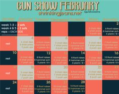 Gun Show February - a monthly workout calendar. Your arms will be bangin' after this month! #gunshowarms @shrinkingjeans #fitness #exercise