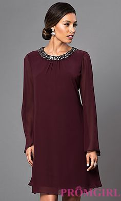 Long Sleeve Short Dress with Jeweled Neckline Elegant Cocktail Dress, Short Cocktail Dress, Cocktail Dresses, Funky Dresses, Casual Dresses, Fashion Dresses, Short Semi Formal Dresses, Short Dresses, Evening Outfits