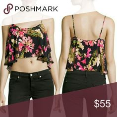 NWT Lovers + Friends Chiffon Ruffle Crop Top Super cute tropical print chiffon crop tank from LF. Adjustable straps,  scoop neckline. Drapey fit, rayon/polyester/spandex blend. Feel free to make an offer! Lovers + Friends Tops Crop Tops