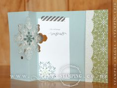 This Snowflake Thinlits Gift Voucher Card was taught by Jacque and Shona at our annual Hamilton Christmas Extravaganza. This swing card is easily die-cut using the Snowflake Card Thinlits and then stamped with the coordinating Letterpress Winter stamp set. The trick to this card is how you insert the card into the die to get an extended card base, then the end can fold over to create a pocket for a gift voucher. www.creativestamping.co.nz | Stampin' Up! | Holiday Catalogue