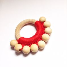 Red beaded crochet teething ring Baby gift by InspirationNeedle