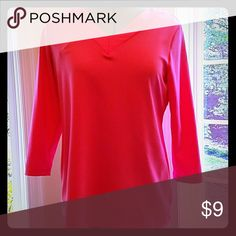 Pretty in Pink knit tee Great layering piece or on its own. It is a v neck in front and back. Liquid knit Susan Graver Tops Tees - Long Sleeve