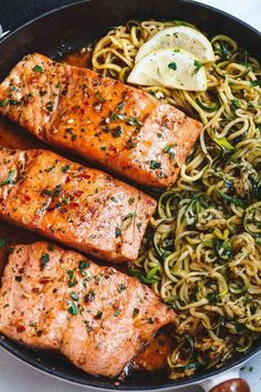 Garlic Butter Salmon with Zucchini Noodles - Butter Lemon Zucchini . Lemon Garlic Butter Salmon with Zucchini Noodles - Butter Lemon Zucchini Garlic with.Lemon Garlic Butter Salmon with Zucchini Noodles - Butter Lemon Zucchini Garlic with. Healthy Meal Prep, Healthy Dinner Recipes, Healthy Snacks, Healthy Eating, Cooking Recipes, Weeknight Recipes, Clean Eating, Healthy Salmon Recipes, Cooking Bacon