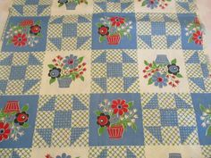 Vintage 50's Cotton Fabric Flower Baskets Quilt Blocks 36 Wide x 70 Quilting #Unbranded