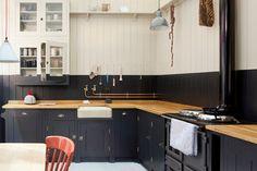 The British Standard Kitchen - traditional - Kitchen - London - British Standard butcherblock counter/black cabinets