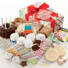 Mrs Beasleys Birthday Party Box.   Send birthday celebrations to friends, family and business associates with our cheerful party box brimming with Miss Grace's chocolate mini birthday cake and candles, birthday party blow-outs, Mrs. Beasley's rich chocolate truffles, Cheryl's crunchy chocolate chip cookies, fudge and blondie walnut brownies and our famous buttercream frosted cut-out cookies. Includes a birthday hangtag. 21 pieces.  $39.99
