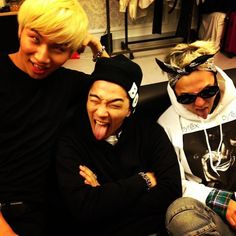 G-Dragon, Taeyang, and Daesung take a pair of wacky photos together