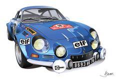 Transportation Drawing - Alpine Renault by Alain Jamar Bugatti, Lamborghini, Ferrari, Retro Cars, Vintage Cars, Vintage Racing, Alpine Renault, Cool Car Drawings, Automobile