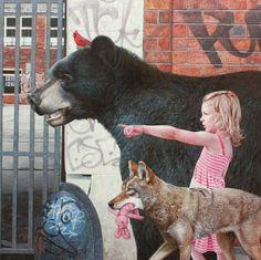 pintura-paisajes-urbanos-hiperrealismo-niños-animales