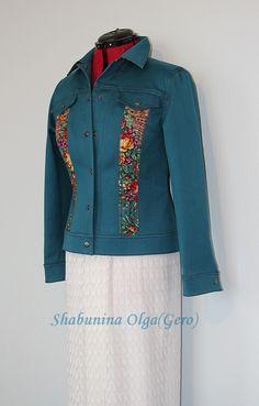 Куртка джинсовая С отделкой из Павловопосадского платка - разноцветный