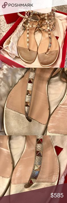 9f961554d40a Valentino rockstud gladiator sandals Gold metallic color in amazing  condition Includes dustbag and box Valentino Shoes Sandals