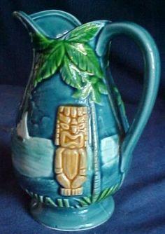 Vintage Blue Pottery Pitcher Hawaii Tiki 1960s - on ebay $ 50