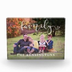 """Elegant White Typography Family Photo Block - I'm going to add holiday photos and send these as """"Christmas in July"""" gifts! #christmasinjuly Affordable Wedding Invitations, Wedding Invitation Suite, Christmas In July, All Things Christmas, Home Library Decor, Photo Blocks, Grandparent Gifts, Anniversary Quotes, Holiday Photos"""