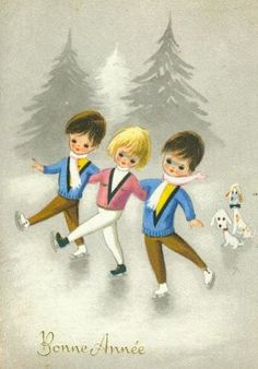 The Silver Skates Club Retro Christmas, Vintage Christmas Cards, Vintage Holiday, Vintage Cards, Vintage Postcards, Xmas Cards, Christmas Art, Vintage Images, Holiday Cards