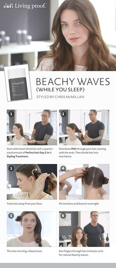 Here's the secret to styling your hair in natural, beachy waves…while you sleep! #Sephora #longhair #beachywaves #waves #seconddayhair #beachyhair #livingproof #perfecthairday #chrismcmillan #hairstyle