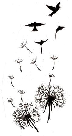 modele-tatouage-pissenlits-semences-oiseaux modèle de tatouage