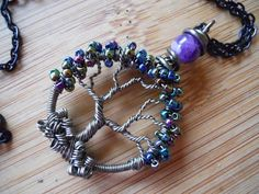 Tree of Life Pendant One Purple Amethyst Bead Metallic Seed Beads Wire Wrapped in Gunmetal Parawire