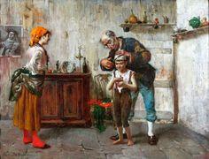 Orestes da Molin (1856-1921), 'In the barber shop', 1880