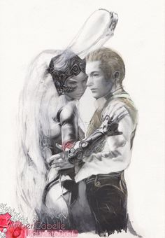 FFXII  Fran & Balthier Embrace 9x12 Watercolor by waltzintodust