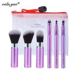 Vela. yue Maquillage Brush Set 6 pcs Voyage Beaut' Outils Kit R'tractable avec Couverture et Cas