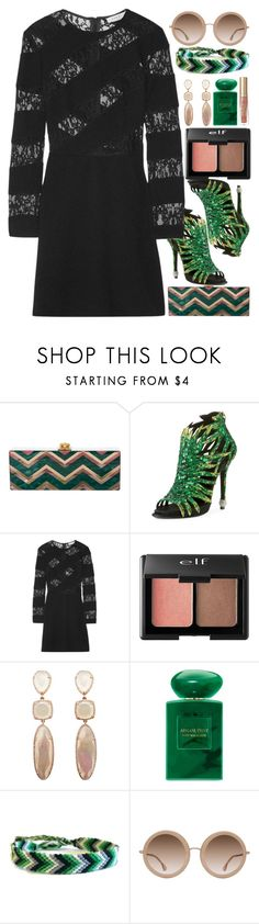 """Spectator"" by egordon2 on Polyvore featuring Edie Parker, Roger Vivier, Sandro, Charlotte Russe, Giorgio Armani, Alice + Olivia and Too Faced Cosmetics"