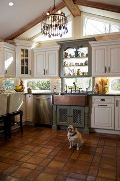 Windows instead of backsplash... lets in light without taking up cabinet space :) LOVE THIS!!!