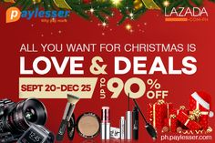 Purchase now and save up to 90% discount on Christmas sale only at #Lazada #Offer #Discount #Paylesser  Why pay more?